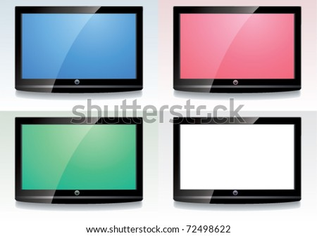 vector set of LCD screen with colorful displays - stock vector