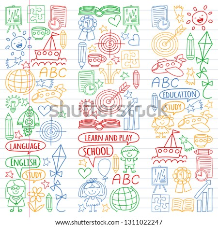 Vector set of learning English language, children's drawing icons icons in doodle style. Painted, colorful, pictures on a piece of linear paper on white background. #1311022247