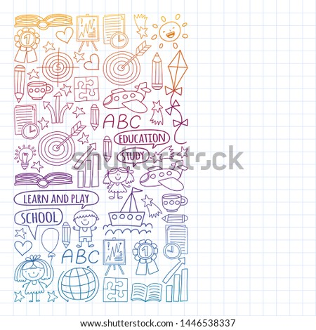 Vector set of learning English language, children's drawing icons in doodle style. Painted, colorful, pictures on a piece of paper on white background. Drawing on exercise notebook in gradient style. #1446538337