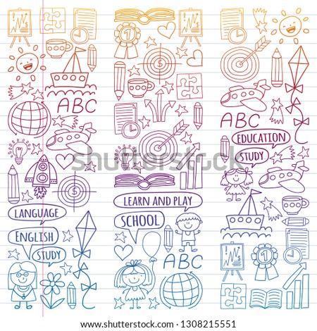 Vector set of learning English language, children's drawingicons in doodle style. Painted, colorful, gradient on a piece of linear paper on white background. #1308215551