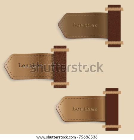 Vector set of leather  labels