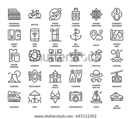 Vector set of leisure and tourism flat line web icons. Each icon with adjustable strokes neatly designed on pixel perfect 48X48 size grid. Fully editable and easy to use.