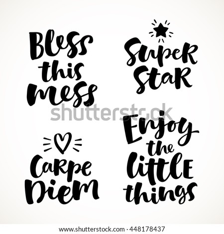 vector set of lettering phrase
