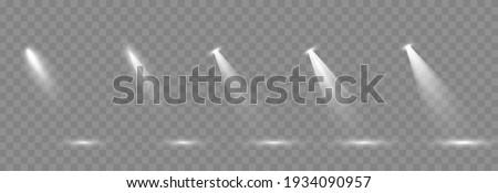 Vector set of light. Light source, studio lighting, walls, png. Light beams, light effect.