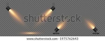Vector set of light. Light source, studio lighting, walls, png. Yellow, golden light. Spot lighting, spotlight PNG. Rays, light effect.