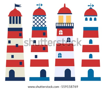 Vector set of lighthouses in flat style