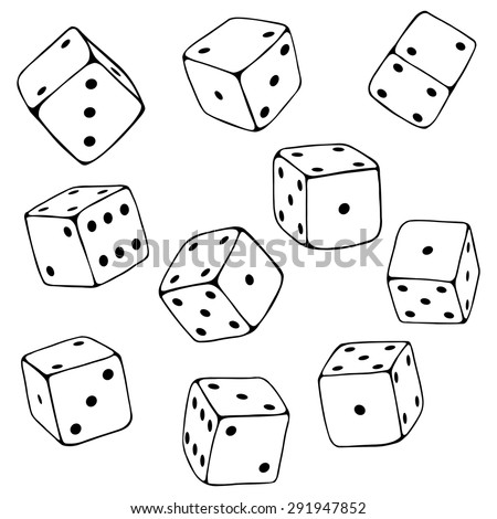 vector set of line art dices
