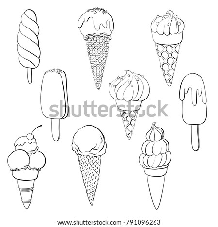 vector set of line drawing ice creams, hand drawn illustration