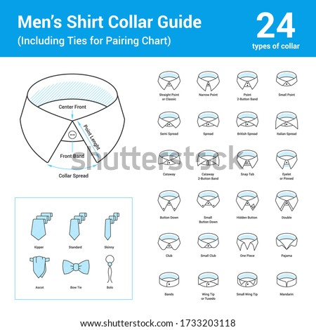 Vector set of line icon of men's shirt collar guide. Includes different collar types and models such as mandarin, one piece, banded. Detailed diagram of collar. Tie models matching to shirts. Сток-фото ©