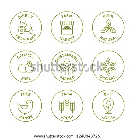 Vector set of line icons and badges for packaging - farm market, local, organic and fresh products direct from farm and locally grown - natural and cruelty free food