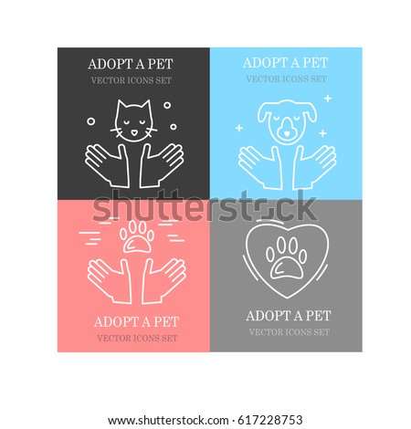 Vector set of line icons for pet adoption, shelter and charity.