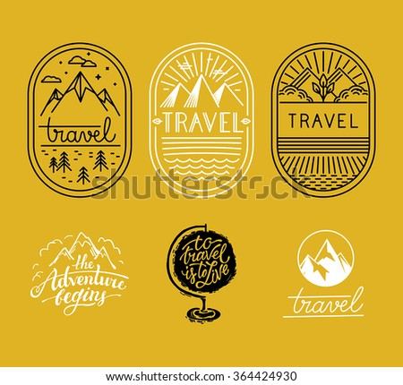 vector set of linear badges in
