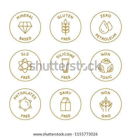Vector set of linear circle design elements, logo templates, icons and badges for natural organic cosmetics with safe eco ingredients - gluten, sls, gmo, silicone, petroleum, dairy free, non toxic