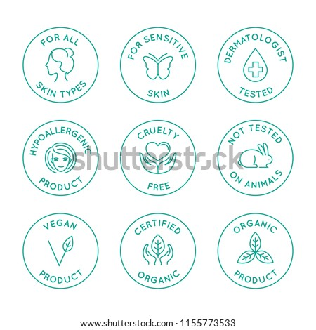 Vector set of linear circle design elements, logo templates, icons and badges for natural organic cosmetics and beauty products with safe eco ingredients - not testes on animals, for all skin types