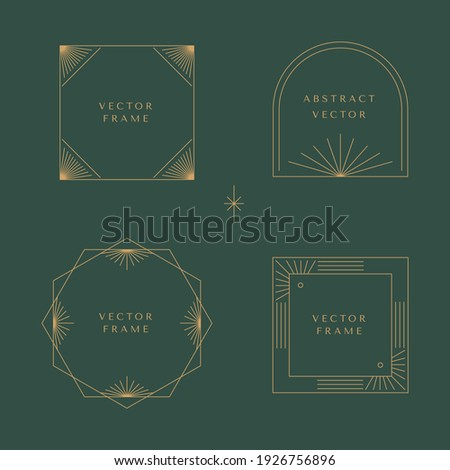 Vector set of linear frames and borders - abstract design elements for decoration or logo design templates in modern minimalist style with copy space for text