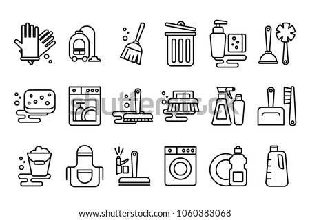Vector set of linear icons on cleaning theme. Objects for housekeeping gloves, broom, hoover, mop and bucket. Elements for mobile app, website, cleaning company