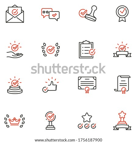 Vector Set of Linear Icons Related to Approvement, Accreditation, Quality Check and Affirmation. Mono Line Pictograms and Infographics Design Elements - part 2 Сток-фото ©