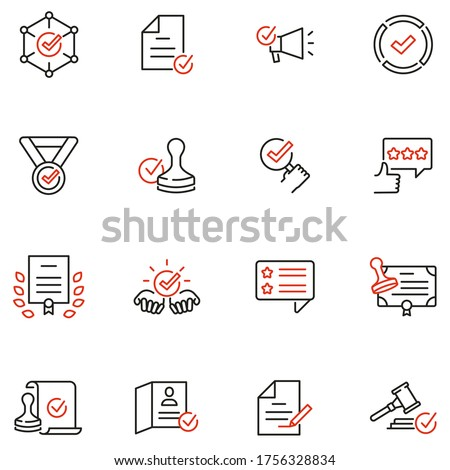 Vector Set of Linear Icons Related to Approvement, Accreditation, Quality Check and Affirmation. Mono Line Pictograms and Infographics Design Elements - part 3 Сток-фото ©