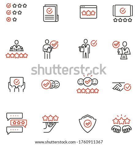 Vector Set of Linear Icons Related to Approvement, Auditing, Expertise and Customer Review. Mono Line Pictograms and Infographics Design Elements