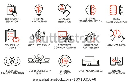 Vector Set of Linear Icons Related to Automation, Convenience of Purchasing Products, Business and Digital Transformation. Mono Line Pictograms and Infographics Design Elements Foto d'archivio ©