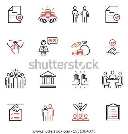 Vector set of linear icons related to bargaining, letter of credit, acknowledgement and affirmation. Mono line pictograms and infographics design elements  Stock photo ©