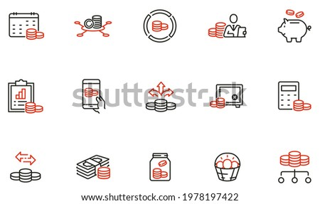 Vector Set of Linear Icons Related to Budget Balance, Finance Planning and Management. Mono Line Pictograms and Infographics Design Elements Stock photo ©