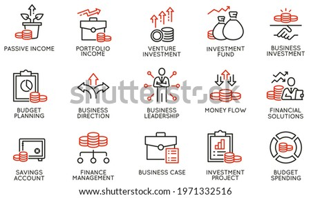 Vector Set of Linear Icons Related to Business investment, Trade Service, Investment Strategy and Finance Manegement. Mono Line Pictograms and Infographics Design Elements