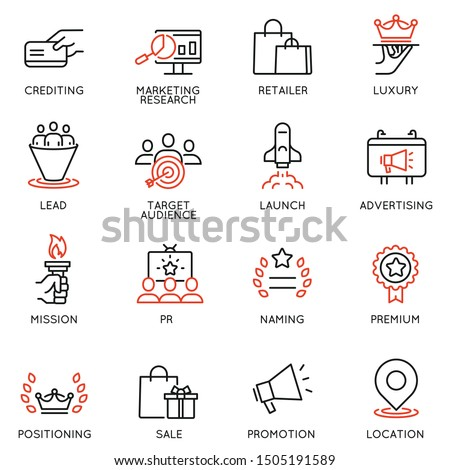 Vector set of linear icons related to business management process, advertising promotion and marketing. Mono line pictograms and infographics design elements - 10