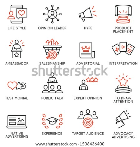 Vector set of linear icons related to business management process, advertising promotion and marketing. Mono line pictograms and infographics design elements - 11 Stock photo ©