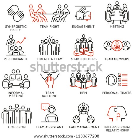 Vector set of linear icons related to business process, team work, human resource management and stakeholders. Mono line pictograms and infographics design elements - part 6