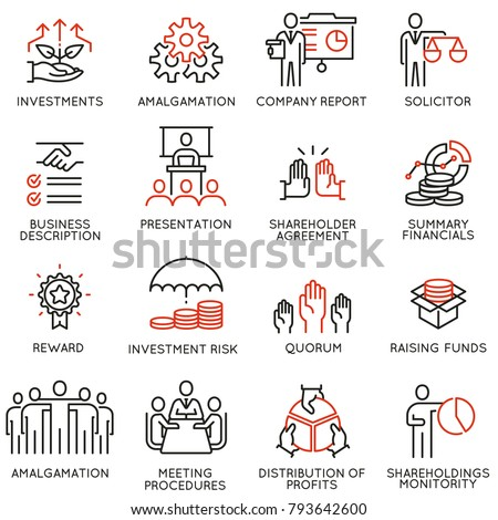 Vector set of linear icons related to business process, team work, human resource management and stakeholders. Mono line pictograms and infographics design elements - part 3