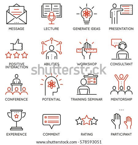 Vector set of linear icons related to career progress, corporate management, business people training and professional consulting service. Pictograms and infographics outline elements