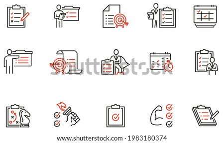 Vector Set of Linear Icons Related to checklist, motivation, training. Striving to achieve success and the set goal. Mono Line Pictograms and Infographics Design Elements