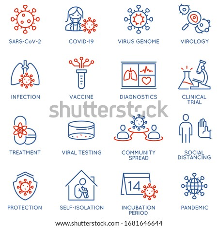 Vector Set of Linear Icons Related to Clinical Trial of Coronavirus, Community Spread and Protection Measures. Covid - 19. Mono Line Pictograms and Infographics Design Elements ストックフォト ©