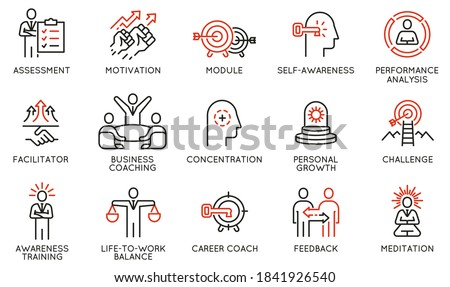 Vector Set of Linear Icons Related to Coaching, Career Development and Striving for Self-Realization. Mono Line Pictograms and Infographics Design Elements