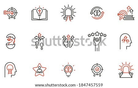 Vector Set of Linear Icons Related to Coaching, Career Development and Striving for Self-Realization. Mono Line Pictograms and Infographics Design Elements - part 3 Stock photo ©