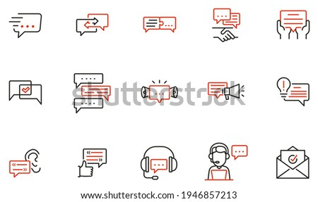 Vector Set of Linear Icons Related to Communication, Message, Consultation Service, Group Chat and Conversation. Mono line pictograms and infographics design elements