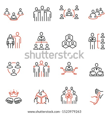 Vector set of linear icons related to Company Organization Structure, Human Resource Management and Succession. Mono line pictograms and infographics design elements