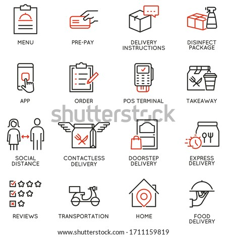 Vector Set of Linear Icons Related to Contactless Delivery Process. Mono line pictograms and infographics design elements
