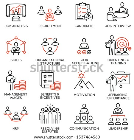 Vector set of linear icons related to engagement employee, recruitment, organizational structure, human resource management. Mono line pictograms and infographics design elements