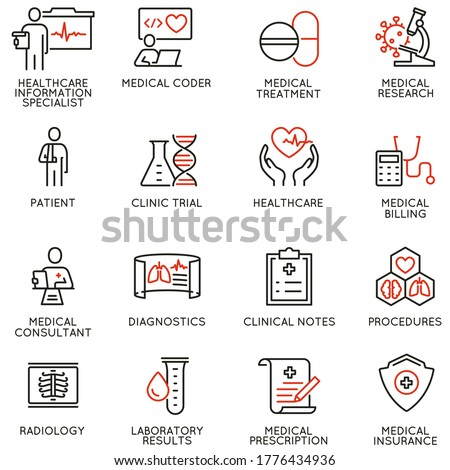 Vector Set of Linear Icons Related to Health Information Management,  Clinical Coder. Mono Line Pictograms and Infographics Design Elements