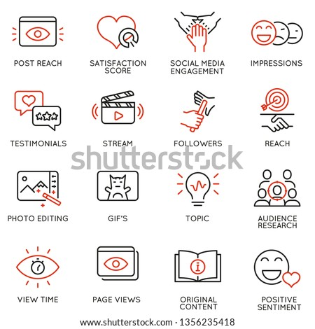 Vector set of linear icons related to  influence marketing and social media promotion services. Mono line pictograms and infographics design elements - part 2