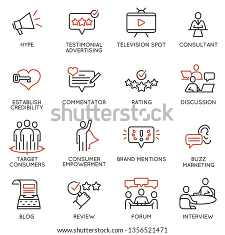 Vector set of linear icons related to influence marketing and social media promotion services. Mono line pictograms and infographics design elements - part 3