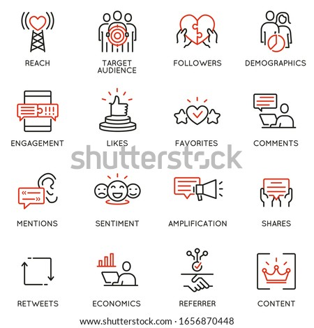 Vector set of linear icons related to influence marketing and social media promotion services. Mono line pictograms and infographics design elements - part 5 Foto d'archivio ©