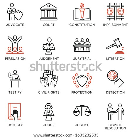 Vector set of linear icons related to law, justice and litigation. Mono line pictograms and infographics design elements - part 1
