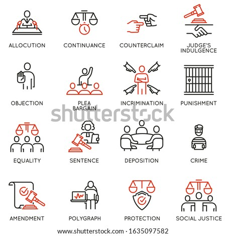 Vector set of linear icons related to law, justice and litigation. Mono line pictograms and infographics design elements - part 4