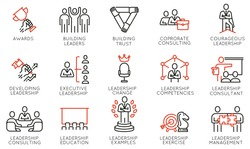 Vector Set of Linear Icons Related to Leadership Development, Categories, Executive and Education. Mono Line Pictograms and Infographics Design Elements