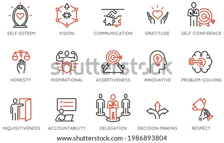 Vector Set of Linear Icons Related to Leadership Traits, Qualities for Success. Development and Teamwork. Mono Line Pictograms and Infographics Design Elements - part 5 Stock photo ©