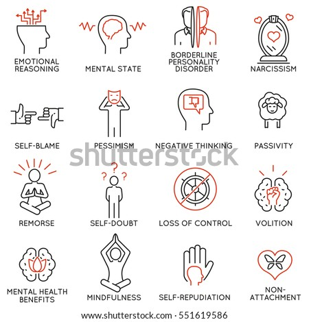 Vector set of 16 linear icons related to mindfulness, awareness, consciousness and mental conditions. Mono line pictograms and infographics design elements