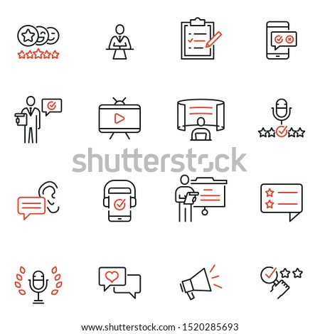 Vector set of linear icons related to Opinion Leader, Review, Expertise. Mono line pictograms and infographics design elements